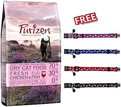Purizon Kitten Pollo y Pescado Economy Pack 2 x 6,5 kg Pro-and Prebiotic Ingredientes 70% Carne $ 30% Vegetales Lactosa y sin Gluten + Trixie Cat Collar con Campanas 30 cm: Amazon.es: Productos para mascotas