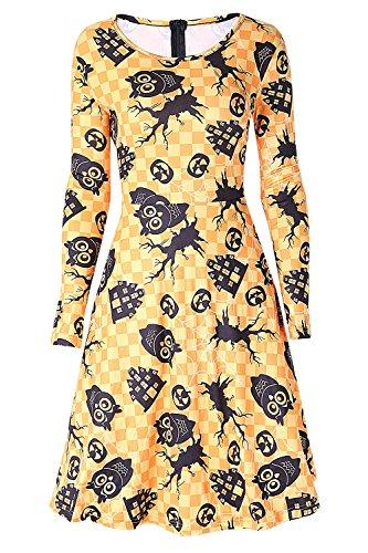 DREAGAL Women's Owl Spider Web Print Simple Design Orange Halloween Dresss M