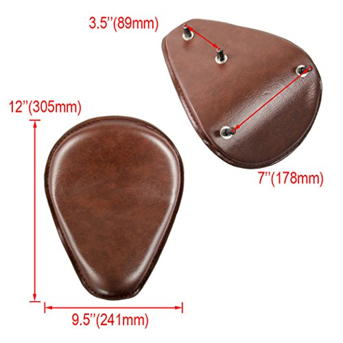 Amazicha Brown Leather Solo Seat 3'' Black Spring Mounting Bracket Kit For Harley Honda Yamaha Suzuki Sportster Bobber Chopper by Amazicha (Image #4)