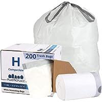 Plasticplace W18528W11DCR 8-9 Gallon Code H Compatible White Drawstring Bags, 200 Count