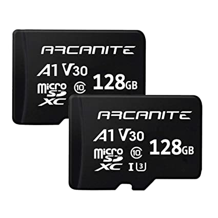 ARCANITE - Paquete de 2 tarjetas de memoria microSDXC de 128 GB, UHS-I U3, A1, V30, 4K, Clase 10, MicroSD - AK2PV30A1128