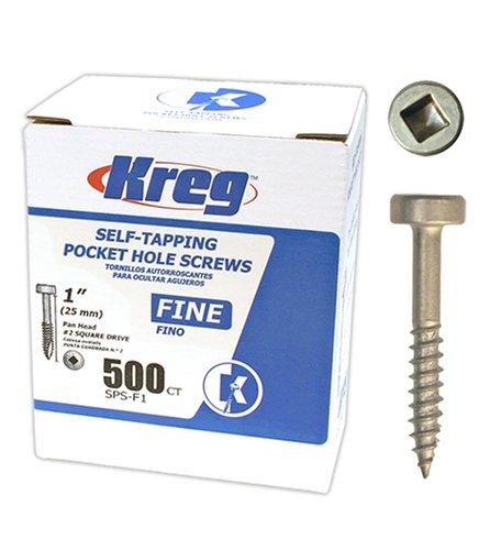 Kreg SPS-F1-500 Pocket Hole Screws 1-Inch #2 Fine Square Drive 500ct