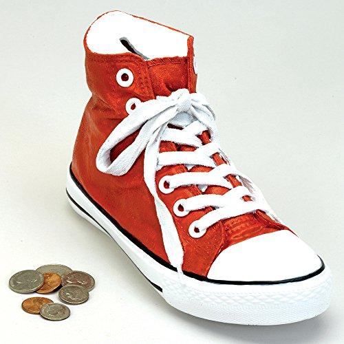 Bits and Pieces - Classic Red Sneaker Coin Bank - Polyresin Shoe Piggy Bank Makes Great Home Décor Accent