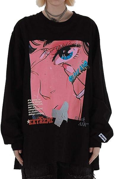 Harajuku Cartoon Girl Print Camisetas de Manga Larga Camisas Hip Hop Casual Camisetas Sueltas Streetwear 2020 Moda para Hombre Tops Hombre: Amazon.es: Ropa y accesorios