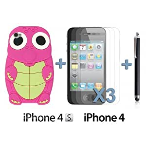 OnlineBestDigital - Turtle Style 3D Silicone Case for Apple iPhone 4S / Apple iPhone 4 - Hot Pink with 3 Screen Protectors and Stylus