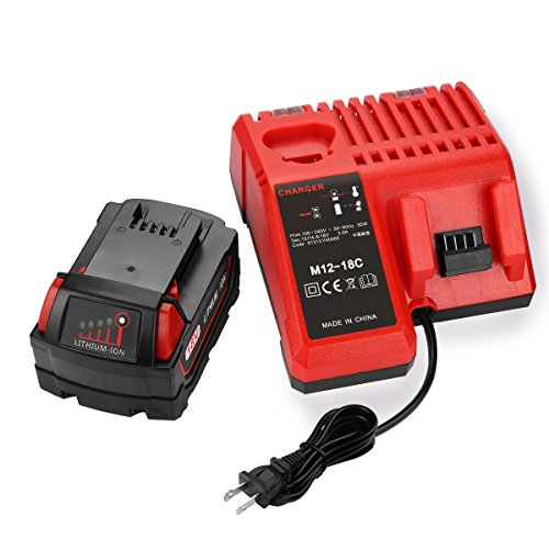 ANTRobut 18V 5000mAh Replacement for Milwaukee 18volt Lithium XC 5.0 Ah Battery (1 Pack) & Milwaukee 12V/18V XC Starter Kit Lithium-ion Battery Charger for Milwaukee