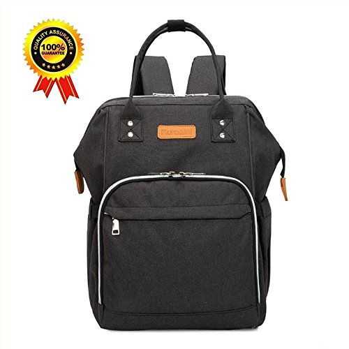 Baby Diaper Bag Backpack Multi-Function Waterproof Travel Backpack Nappy Tote Bags Large Capacity Creative Fashion Package Best Gift for Mom&Dad(Black)