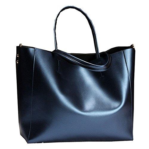 Capacité Femme À Blue Main Grande En Pour Bag Zll Cuir Women's Sac B8wnfq