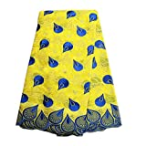 Mangocore Yellow And Blue Embroidery Lace Fabric African Swiss Voile Lace 100% Cotton Lace Fabric (yellow)
