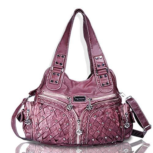 - Angel Barcelo Roomy Fashion Hobo Womens Handbags Ladies Purse Satchel Shoulder Bags Tote Washed Leather Bag Red Mahogany