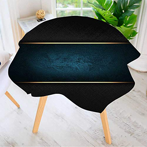 Leighhome Circular Solid Polyester Tablecloth- The Template for The Inscription Black Background with a Blue nameplate. for Wedding Restaurant Buffet Table Decoration 40