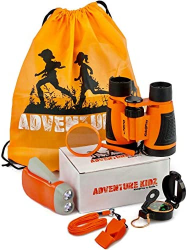 Adventure Kidz Outdoor Exploration Kit, Children's Toy Binoculars, Flashlight, Compass, Whistle, Magnifying Glass, Backpack. Great Kids Gift Set for Camping, Hiking, Educational and Pretend Play.