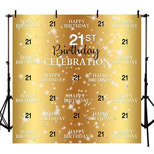 Mehofoto 8x8ft Happy 21st Birthday Backdrop Step and Repeat Gold Photo Background Glitter Star Gold Photo Backdrop for 21st Birthday Party Decorations (Birthday Photo 21st)