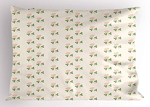 - TYANG Floral Pillow Sham, Rose Leaves Flowers Petals Romantic Garden Vintage Design Artwork, Decorative Standard Queen Size Printed Pillowcase, 30 X 20 inches, White Light Pink and Green