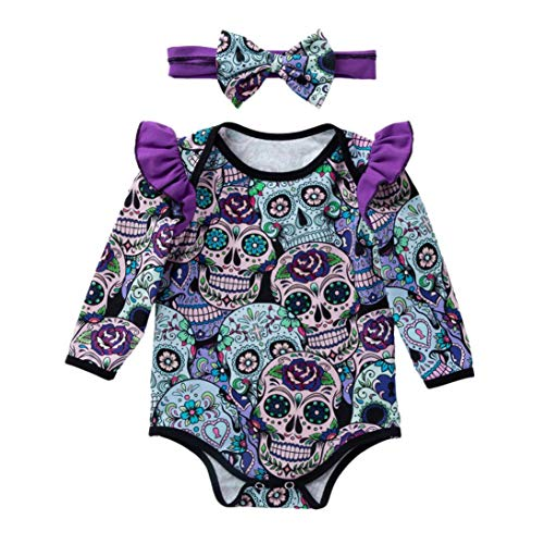 XILALU Newborn Baby Girls Halloween Romper,Cute Long Sleeve Cartoon Skull Ruffle Cotton Jumpsuit with Headband(3M-18M)