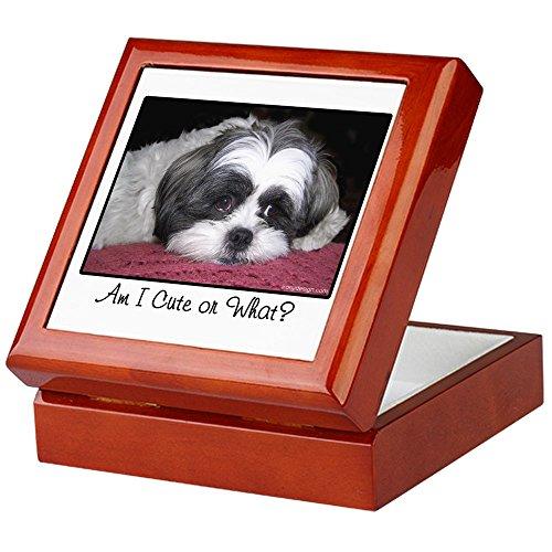 CafePress - Cute Shih Tzu Dog - Keepsake Box, Finished Hardwood Jewelry Box, Velvet Lined Memento Box