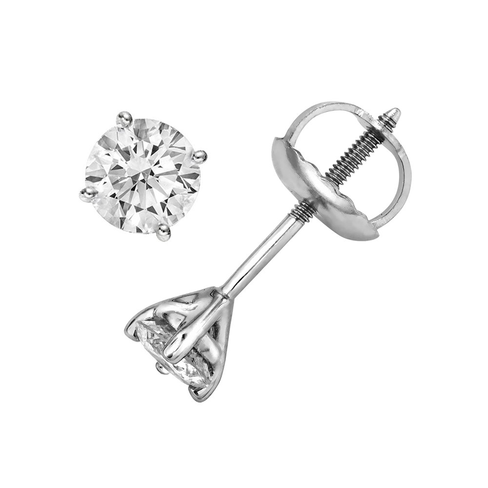 IGI Certified 1/3 cttw Round Cut 14K White Gold Diamond Stud Earrings (G-H Color, I2-I3 Clarity)
