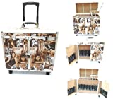 EUROPEAN CLASSICAL BROWN / SILVER Professional Salon Stylist Cosmetic / JEWELRY / Make-Up Case with Appliance Holders, 4 Wheels, Retractable Handle, Safety Locks and 2 Keys, Bags Central
