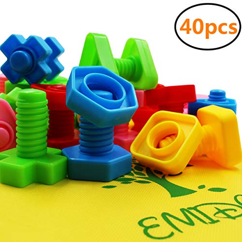 EMIDO 40 Pieces Jumbo Nuts Bolts Toy, STEM Toy, Kids Educational Enlightenment Toys, Occupational Therapy Autism,Safe Material for Kids - Matching Fine Motor Toy for Toddlers Preschoolers ()