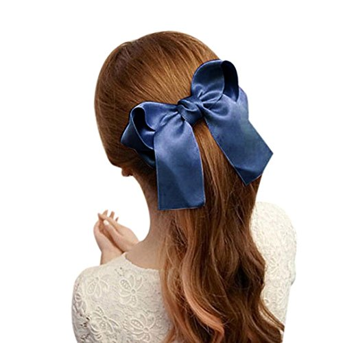 Fashion Women Girls Cute Large Big Satin Hair Hair Clip Boutique Ribbon Bow (Blue Satin Hair Bow)
