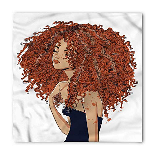 Curly Hair Bandana, Exotic Girl Freckles, Unisex Head and Neck Tie,39.339.3inch