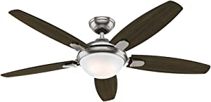 Hunter Indoor Ceiling Fan with light and remote control - Contempo 52 inch, Brushed Nickel, 59013