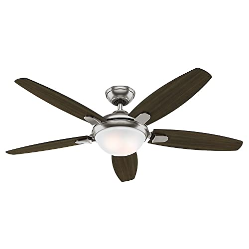 Hunter Indoor Ceiling Fan with light and remote control – Contempo 52 inch, Brushed Nickel, 59013