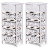 allgoodsdelight365 2 PCS Nightstand Bedside End Table Organizer 4 Wicker Baskets Cabinet