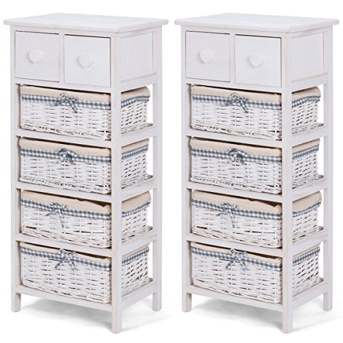 2 PCS Nightstand Bedside End Table Organizer 4 Wicker Baskets Cabinet With Ebook (6 Storage Wicker Unit Drawer)