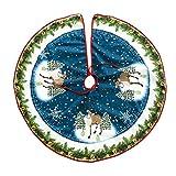 Wingbind Merry Christmas Tree Skirt Luxury Large Xmas Tree Base Decoration Snowman Santa Reindeer Pattern