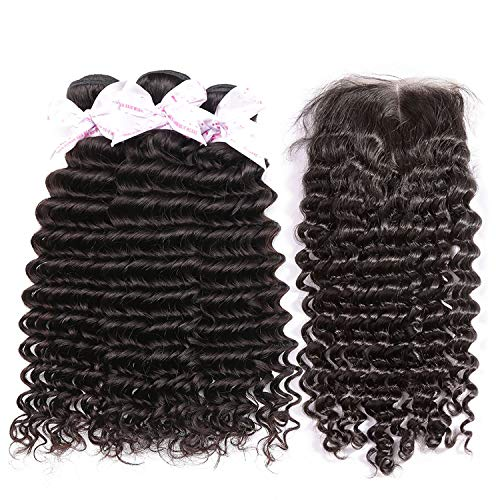 Glad You Came Brazilian Deep Wave Human Hair Weave 3 4 Bundles With Closure Curly Remy Hair Extension Cheap Bundles of Hair with Closure,24 26 28 30Closure20,Free Part