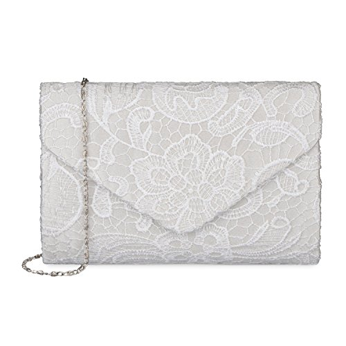 Baglamor Women's Elegant Floral Lace Envelope Clutch Evening Prom Handbag Purse(White)