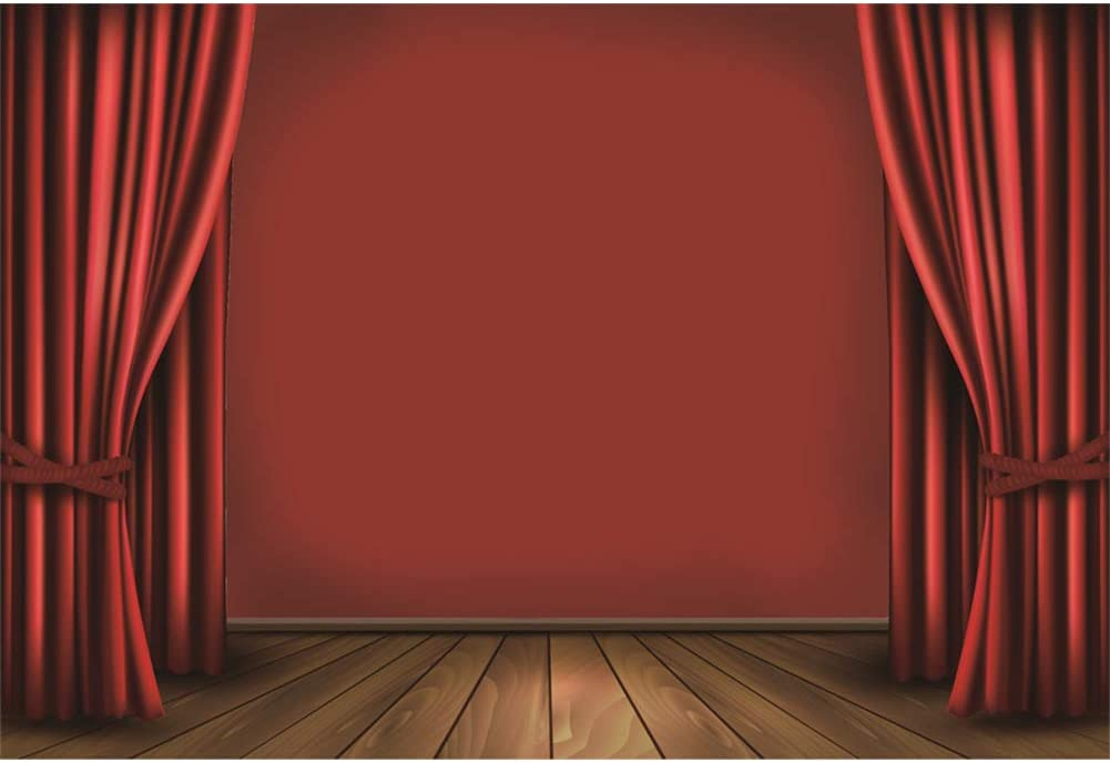 Red Curtain Stage Backdrop 10x6.5ft Polyester Red Curtain Cloudy Background Old Wooden Floor Spotlight Photography Background Live Show Performance Banner Adult Child Portrait Shoot Photocall