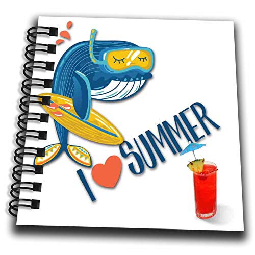 Notepad Summer (3dRose SpiritualAwakenings Cartoons - Having a Whale of a time at The Beach Surfing Loving Summer - Mini Notepad 4 x 4 inch (db_308282_3))