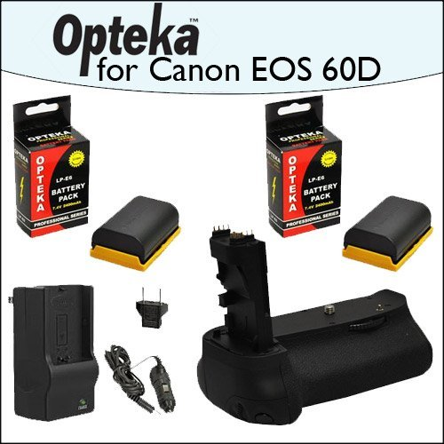 Opteka Battery Pack Grip / Vertical Shutter Release With 2 Opteka LP-E6 LPE6 2400mAh Ultra High Capacity Li-ion and Rapid Charger for Canon EOS 5D Mark 2 3 II III 5DM2 5DM3 6D 7D 60D 60Da 70D DSLR Digital Camera