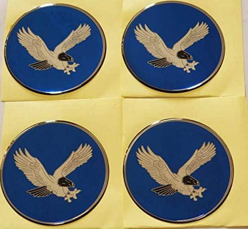 70MM Blue OEG70-BL SET EAGLE BIRD RACING Emblem Logo Wheel Rim Center Hub Cap Sticker Decal 2.75