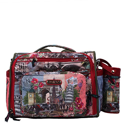 pink-colorful-print-convertible-multiple-compartment-baby-diaper-bag-with-detachable-backpack-straps