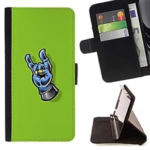 Momo Phone Case / Flip Funda de Cuero Case Cover - Heavy Metal Mano - Samsung ALPHA G850