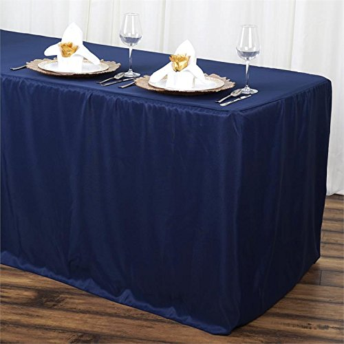 Doolova 6FT Fitted NAVY BLUE Wholesale Polyester Table Cover Wedding Banquet Event Tablecloth