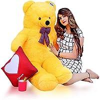 ATIF Soft Toys Long Soft Lovable hugable Cute Giant Life Size Teddy Bear 3 Feet 90 cm Yellow /and Wife/BOY Girl/ Gift