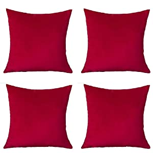 """Andreannie Set of 4 Velvet Super Soft Comfortable Solid Decorative Throw Pillow Cover Cushion Case for Sofa Living Room 18 inches,20 inches Square (Red, 18""""x18"""") ¡"""