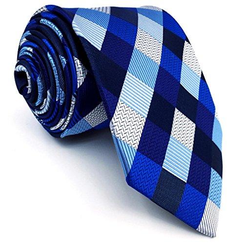g Size Ties Checked Blue Silver Black Men Neckties 100% Silk (Checked Tie)