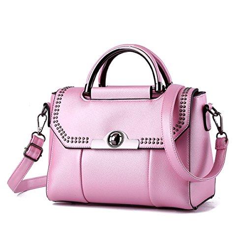 Bolso De Hombro De Cuero De Las Señoras Bolso De Hombro Elegante De La Manera Bolso Del Bolso De Messenger Bolso De Hombro De Las Mujeres (negro) Pink