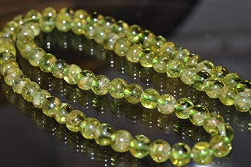 6mm Natural Untreated Peridot Olivine Gemstone Beads,Round Loose Bead,15 Inches Full Strand
