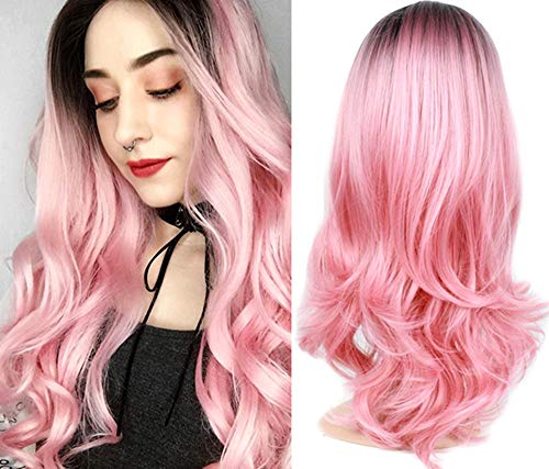 Fani Wigs Long Wave Ombre Pink Wig for Women Halloween Cosplay Wigs Dark Roots Synthetic Full Wig with Free Wig Cap]()