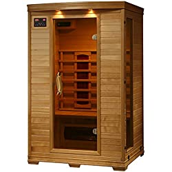 Radiant Saunas FAR Infrared 2-Person Hemlock Sauna Room with 5 Heaters, Chromotherapy Lighting, Air Purifier, and Audio System