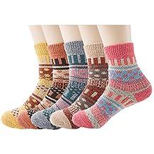 No.66 Town Women's 5-Pack Thick Wool Sock Warm Soft Winter Crew Socks