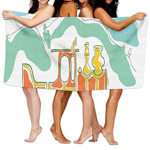 Haixia Super Soft Bath Towels Beach/Bath/Pool Towel 51.2'' X 31.5'' Steam Engine Colorful Small Old Train Country Retro Kids Art Vintage Cartoon Print Green Blue Orange by Haixia