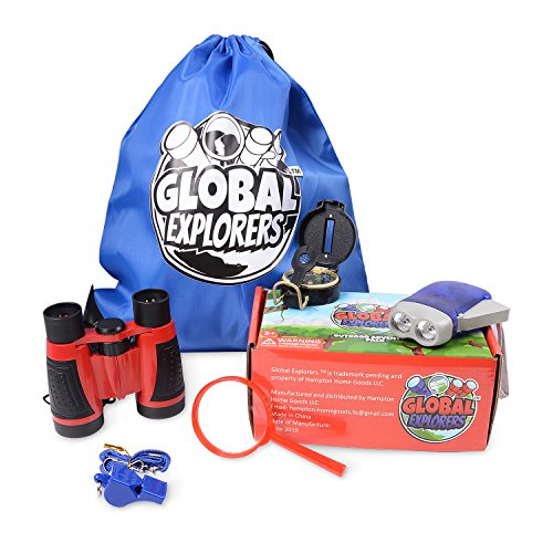 Global Explorers - Outdoor Adventure Pack for Kids, Toy Binoculars, Flashlight, Whistle, Compass, Magnifying Glass, Drawstring Backpack. Great Educational Gift for Hiking and Camping by Global Explorers