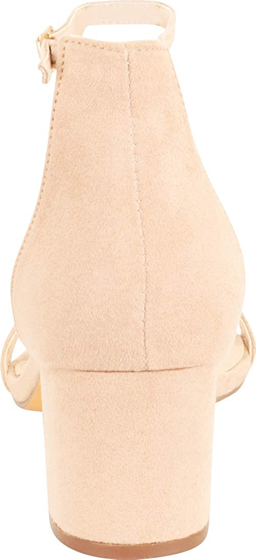 Cambridge Select Womens Open Toe Single Band Buckled Ankle Strap Chunky Block Wrapped Mid Heel Sandal
